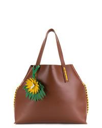 braune verzierte Shopper Tasche aus Leder von P.A.R.O.S.H.