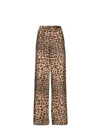 braune weite Hose mit Leopardenmuster von P.A.R.O.S.H.