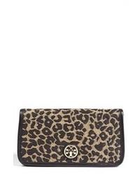 braune Wildleder Clutch mit Leopardenmuster