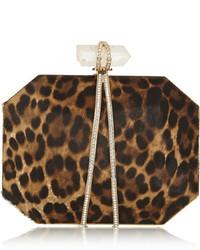 Braune Wildleder Clutch mit Leopardenmuster von Marchesa