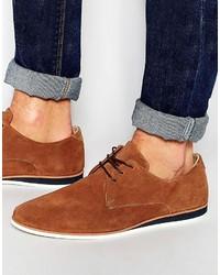 braune Wildleder Derby Schuhe von Asos