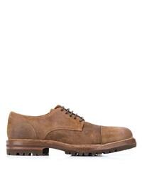 braune Wildleder Derby Schuhe von Brunello Cucinelli