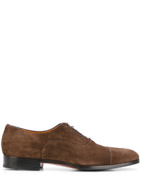 braune Wildleder Derby Schuhe von Santoni