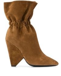 braune Wildleder mittelalte Stiefel von Saint Laurent