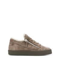 braune Wildleder niedrige Sneakers von Giuseppe Zanotti Design