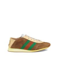 braune Wildleder niedrige Sneakers von Gucci