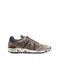 braune Wildleder niedrige Sneakers von Premiata