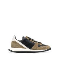 braune Wildleder niedrige Sneakers von Rick Owens