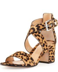 braune Wildleder Sandaletten mit Leopardenmuster