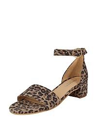 braune Wildleder Sandaletten mit Leopardenmuster von Pavement