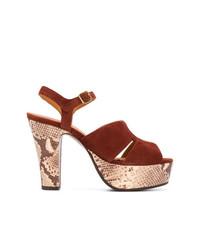 braune Wildleder Sandaletten mit Schlangenmuster von Chie Mihara