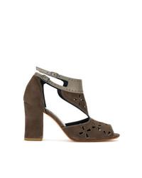 braune Wildleder Sandaletten von Sarah Chofakian