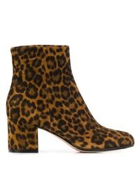 braune Wildleder Stiefeletten mit Leopardenmuster von Gianvito Rossi