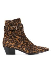 braune Wildleder Stiefeletten mit Leopardenmuster von Saint Laurent