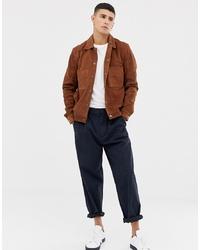 braune Shirtjacke aus Wildleder von Selected Homme