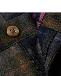 braune Wollanzughose mit Schottenmuster von Etro