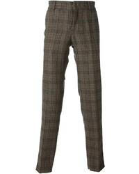braune Wollanzughose mit Schottenmuster von Stella Jean