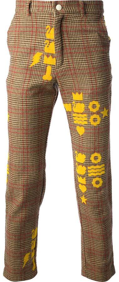 braune Wollanzughose mit Schottenmuster von Walter
