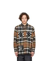 braune Wollshirtjacke mit Schottenmuster von We11done