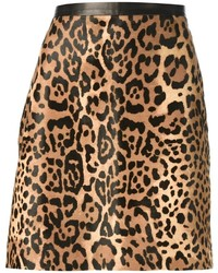brauner A-Linienrock mit Leopardenmuster von Ralph Lauren