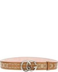 brauner bedruckter Ledergürtel von Gucci
