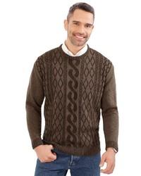 brauner bedruckter Pullover mit einem Rundhalsausschnitt von Classic