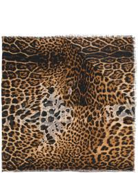 brauner bedruckter Schal von Saint Laurent