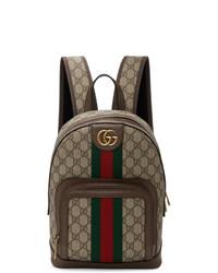 brauner bedruckter Segeltuch Rucksack von Gucci