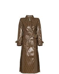 brauner bedruckter Trenchcoat von Fendi