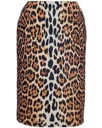 Brauner Bleistiftrock mit Leopardenmuster