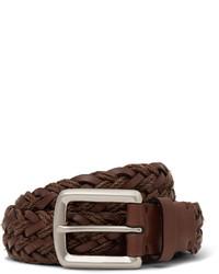 brauner geflochtener Ledergürtel von Brunello Cucinelli