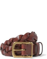 brauner geflochtener Ledergürtel von Polo Ralph Lauren