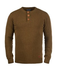 brauner Henley-Pullover von BLEND