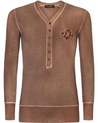 brauner Henley-Pullover von Dolce & Gabbana
