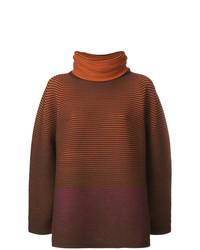 brauner horizontal gestreifter Oversize Pullover von Issey Miyake