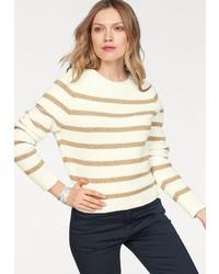 brauner horizontal gestreifter Pullover mit einem Rundhalsausschnitt von Tommy Hilfiger