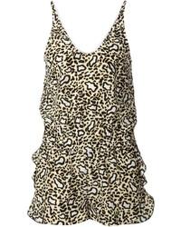 brauner kurzer Jumpsuit mit Leopardenmuster von Stella McCartney