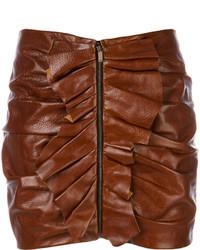 brauner Leder Minirock mit Rüschen von Saint Laurent