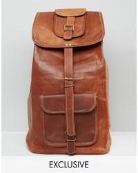 brauner Leder Rucksack von Reclaimed Vintage