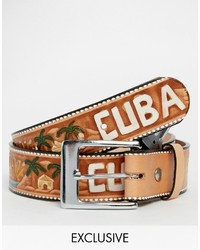 brauner Ledergürtel mit geometrischem Muster von Reclaimed Vintage