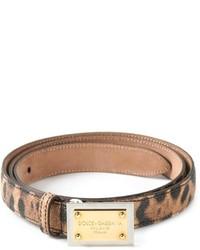 brauner Ledergürtel mit Leopardenmuster von Dolce & Gabbana