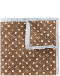 brauner Leinen Schal mit Blumenmuster von Eleventy
