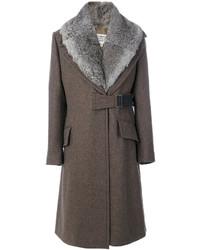 brauner Mantel mit einem Pelzkragen von Maison Margiela