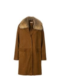 brauner Mantel mit einem Pelzkragen von P.A.R.O.S.H.