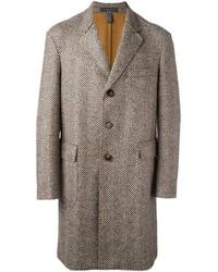 brauner Mantel mit Fischgrätenmuster von Jacob Cohen