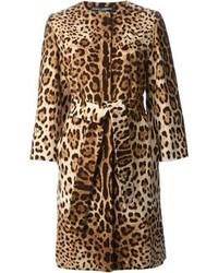 brauner Mantel mit Leopardenmuster