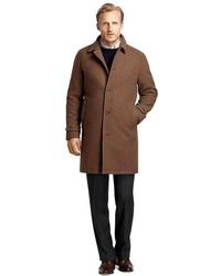 brauner Mantel mit Vichy-Muster