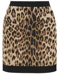 brauner Minirock mit Leopardenmuster von Balmain