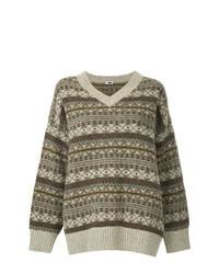 brauner Oversize Pullover mit Fair Isle-Muster