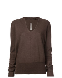 brauner Oversize Pullover von Rick Owens